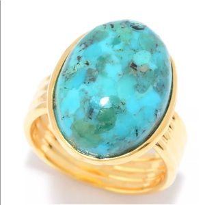 Toscana Italiana turquoise ridged ring size 9